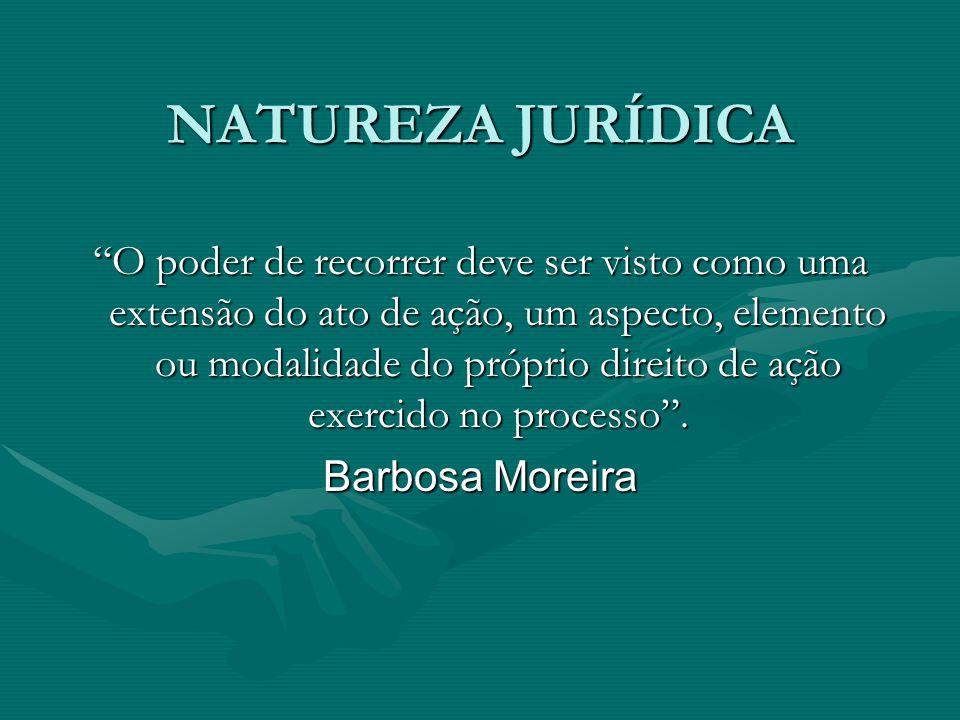"""NATUREZA JURÍDICA """"O poder de recorrer deve ser visto como uma extensão do ato de ação, um aspecto, elemento ou modalidade do próprio direito de ação"""