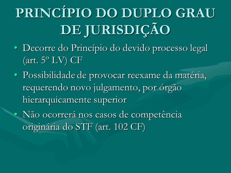 PRINCÍPIO DO DUPLO GRAU DE JURISDIÇÃO •Decorre do Princípio do devido processo legal (art. 5º LV) CF •Possibilidade de provocar reexame da matéria, re