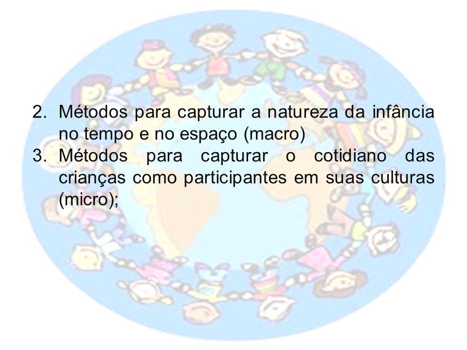 2.Métodos para capturar a natureza da infância no tempo e no espaço (macro) 3.Métodos para capturar o cotidiano das crianças como participantes em suas culturas (micro);