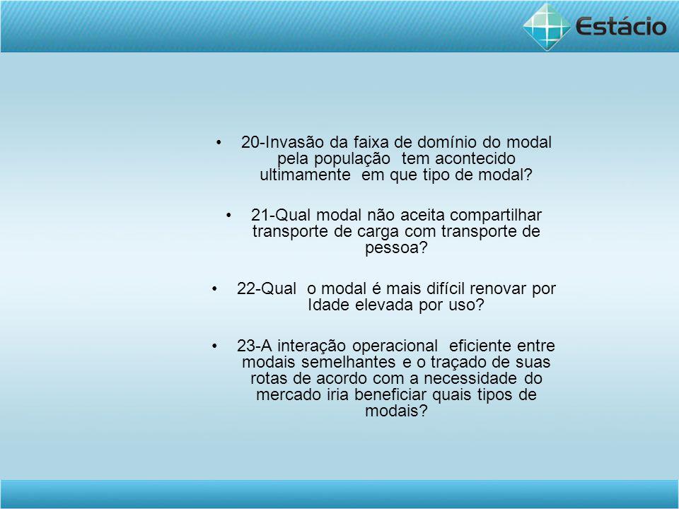 •20-Invasão da faixa de domínio do modal pela população tem acontecido ultimamente em que tipo de modal? •21-Qual modal não aceita compartilhar transp