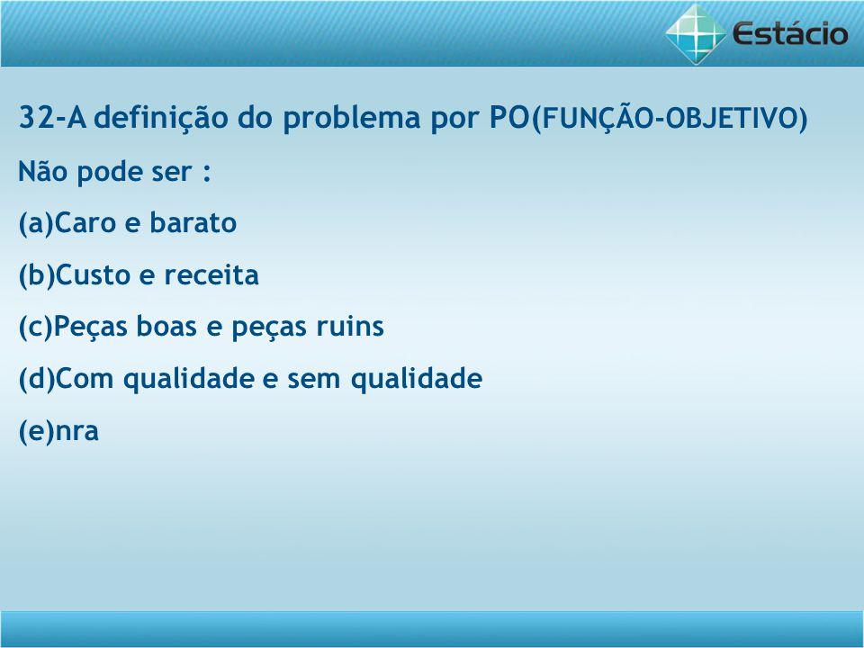 32-A definição do problema por PO( FUNÇÃO-OBJETIVO) Não pode ser : (a)Caro e barato (b)Custo e receita (c)Peças boas e peças ruins (d)Com qualidade e