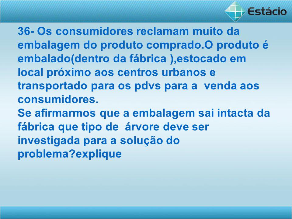 36- Os consumidores reclamam muito da embalagem do produto comprado.O produto é embalado(dentro da fábrica ),estocado em local próximo aos centros urb