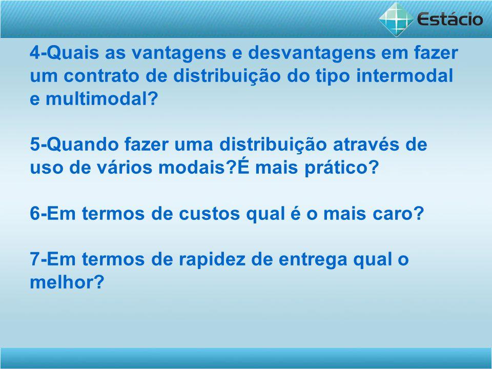 4-Quais as vantagens e desvantagens em fazer um contrato de distribuição do tipo intermodal e multimodal? 5-Quando fazer uma distribuição através de u