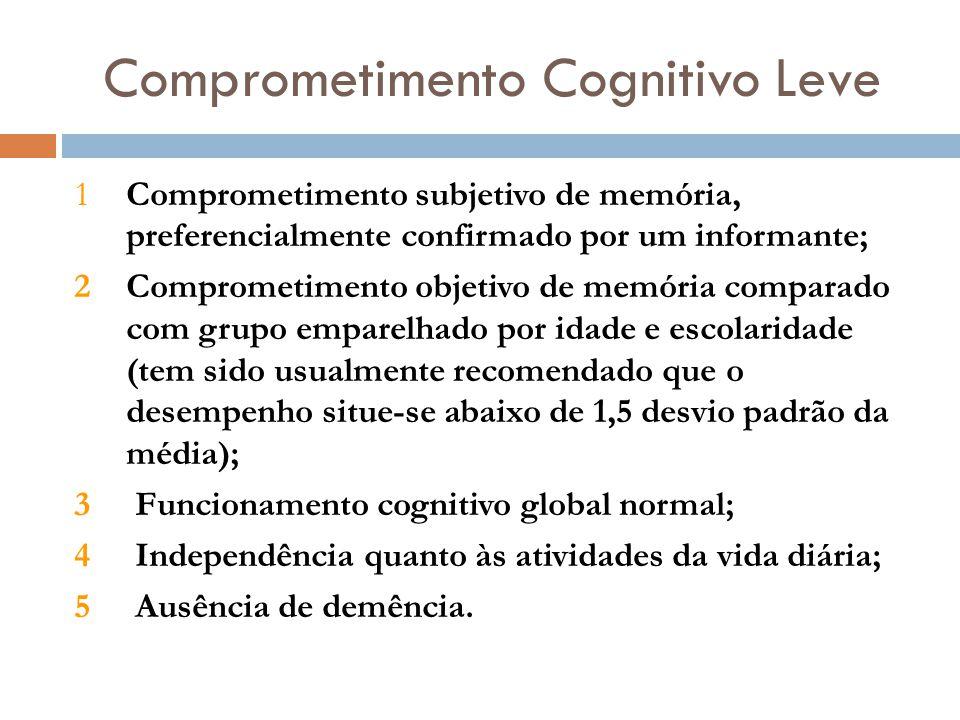 Comprometimento Cognitivo Leve 1Comprometimento subjetivo de memória, preferencialmente confirmado por um informante; 2Comprometimento objetivo de mem