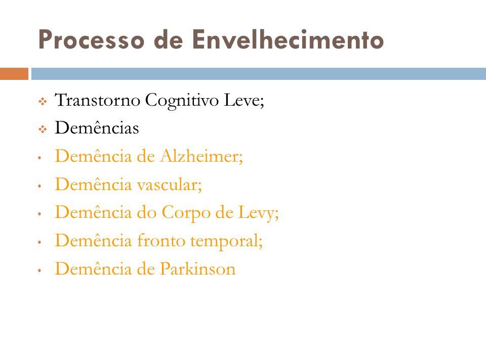 Processo de Envelhecimento  Transtorno Cognitivo Leve;  Demências • Demência de Alzheimer; • Demência vascular; • Demência do Corpo de Levy; • Demên