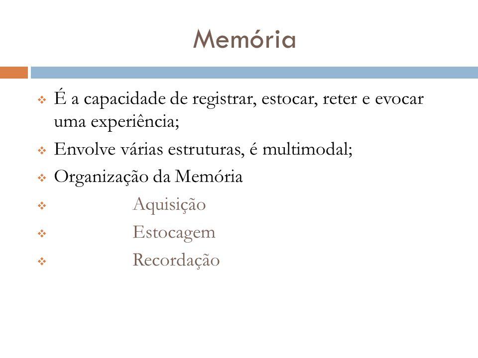 Memória  É a capacidade de registrar, estocar, reter e evocar uma experiência;  Envolve várias estruturas, é multimodal;  Organização da Memória 