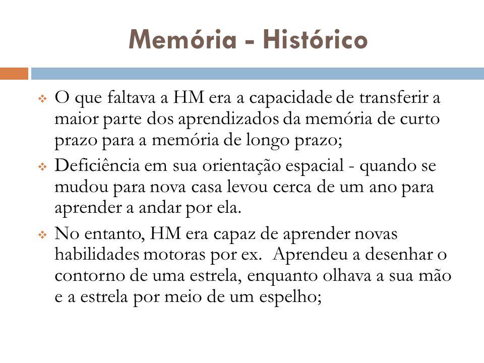 Memória - Histórico  O que faltava a HM era a capacidade de transferir a maior parte dos aprendizados da memória de curto prazo para a memória de lon