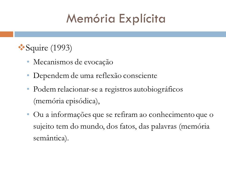 Memória Explícita  Squire (1993) •Mecanismos de evocação •Dependem de uma reflexão consciente •Podem relacionar-se a registros autobiográficos (memór