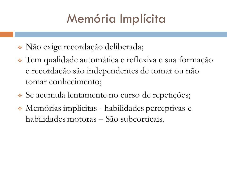 Memória Implícita  Não exige recordação deliberada;  Tem qualidade automática e reflexiva e sua formação e recordação são independentes de tomar ou