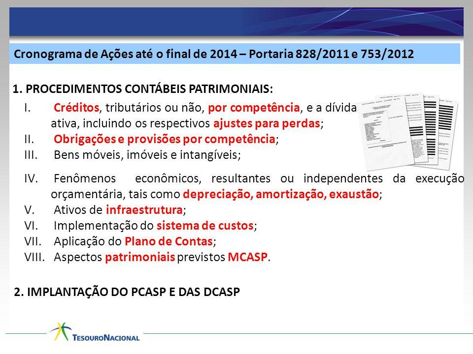 Cronograma de Ações até o final de 2014 – Portaria 828/2011 e 753/2012 I. Créditos, tributários ou não, por competência, e a dívida ativa, incluindo o