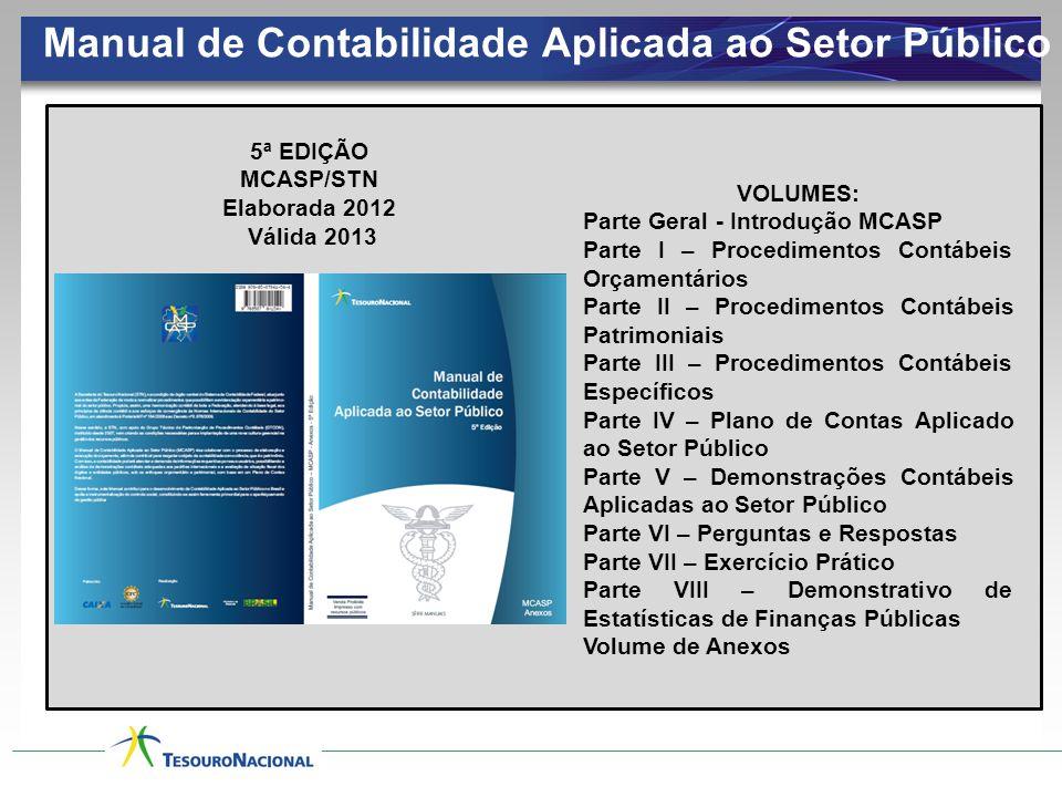 Manual de Contabilidade Aplicada ao Setor Público 5ª EDIÇÃO MCASP/STN Elaborada 2012 Válida 2013 VOLUMES: Parte Geral - Introdução MCASP Parte I – Pro