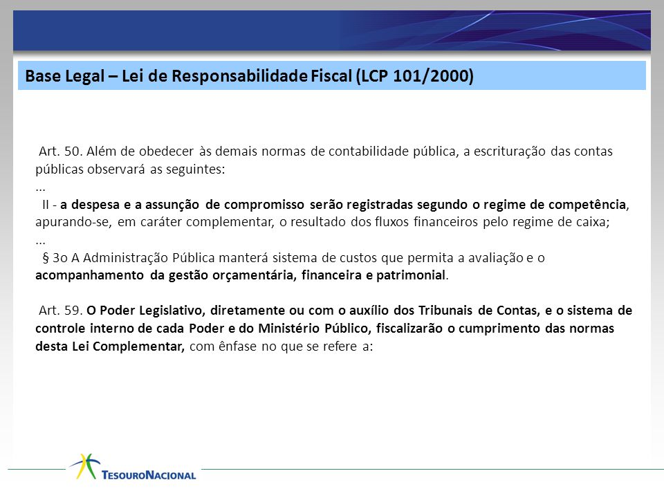 Base Legal – Lei de Responsabilidade Fiscal (LCP 101/2000) Art.