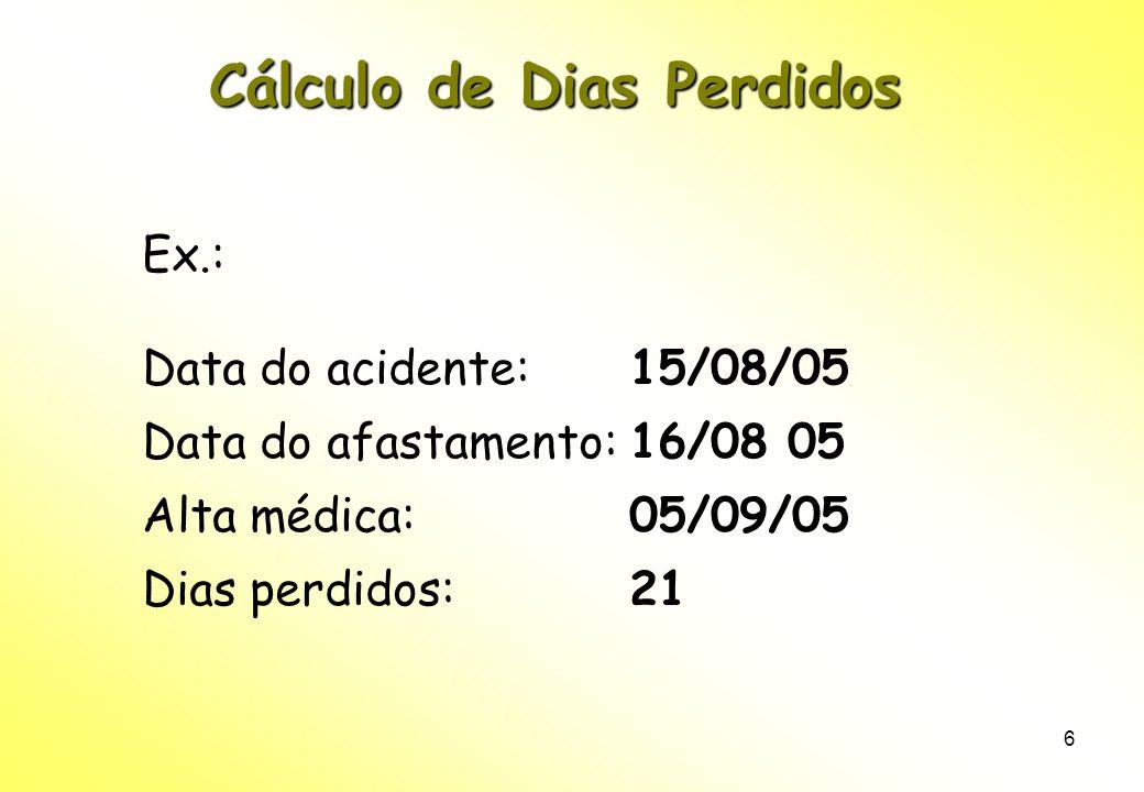 6 Cálculo de Dias Perdidos Ex.: Data do acidente: 15/08/05 Data do afastamento: 16/08 05 Alta médica: 05/09/05 Dias perdidos: 21