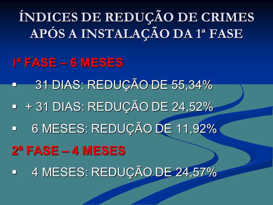 ÍNDICES DE REDUÇÃO DE CRIMES APÓS A INSTALAÇÃO DA 1ª FASE 1 ª FASE – 6 MESES  31 DIAS: REDUÇÃO DE 55,34%  + 31 DIAS: REDUÇÃO DE 24,52%  6 MESES: REDUÇÃO DE 11,92% 2ª FASE – 4 MESES  4 MESES: REDUÇÃO DE 24,57%
