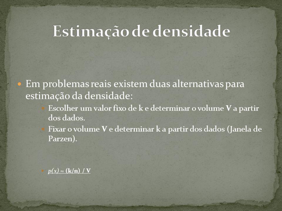  Em problemas reais existem duas alternativas para estimação da densidade:  Escolher um valor fixo de k e determinar o volume V a partir dos dados.