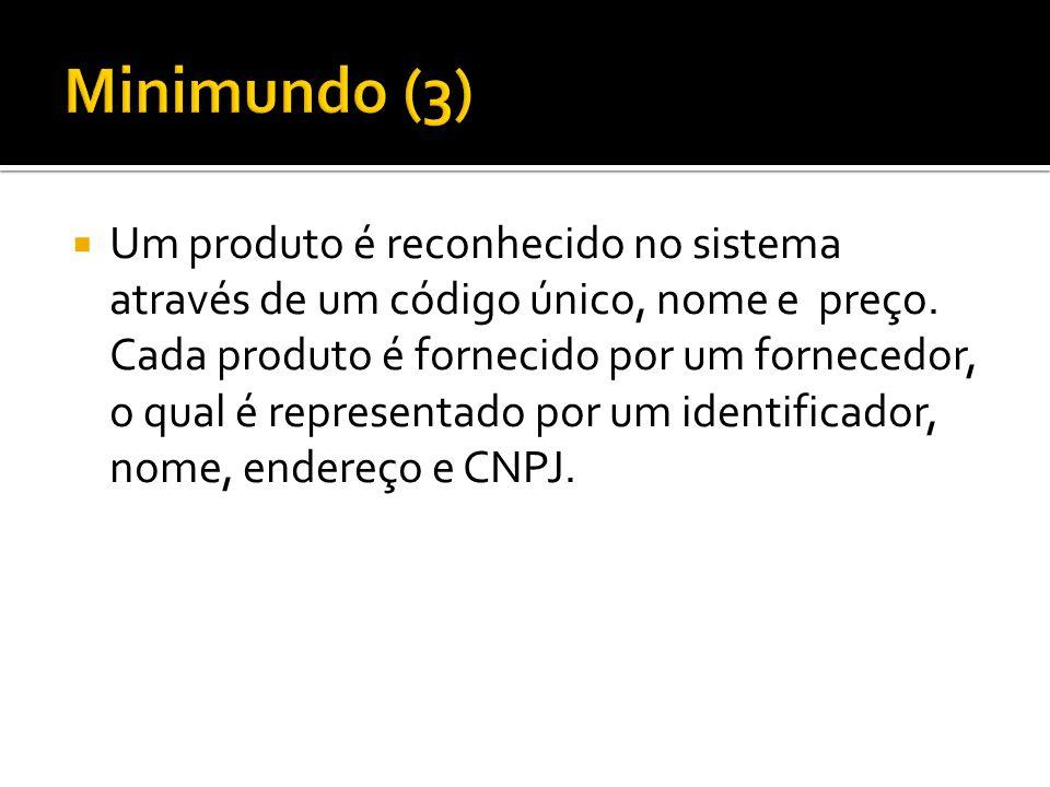  Um produto é reconhecido no sistema através de um código único, nome e preço. Cada produto é fornecido por um fornecedor, o qual é representado por