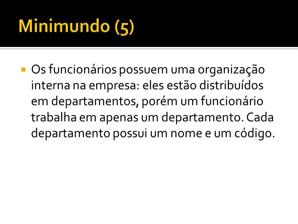  Os funcionários possuem uma organização interna na empresa: eles estão distribuídos em departamentos, porém um funcionário trabalha em apenas um dep