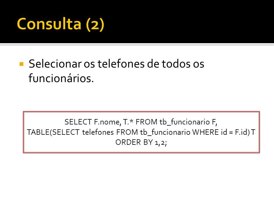  Selecionar os telefones de todos os funcionários. SELECT F.nome, T.* FROM tb_funcionario F, TABLE(SELECT telefones FROM tb_funcionario WHERE id = F.