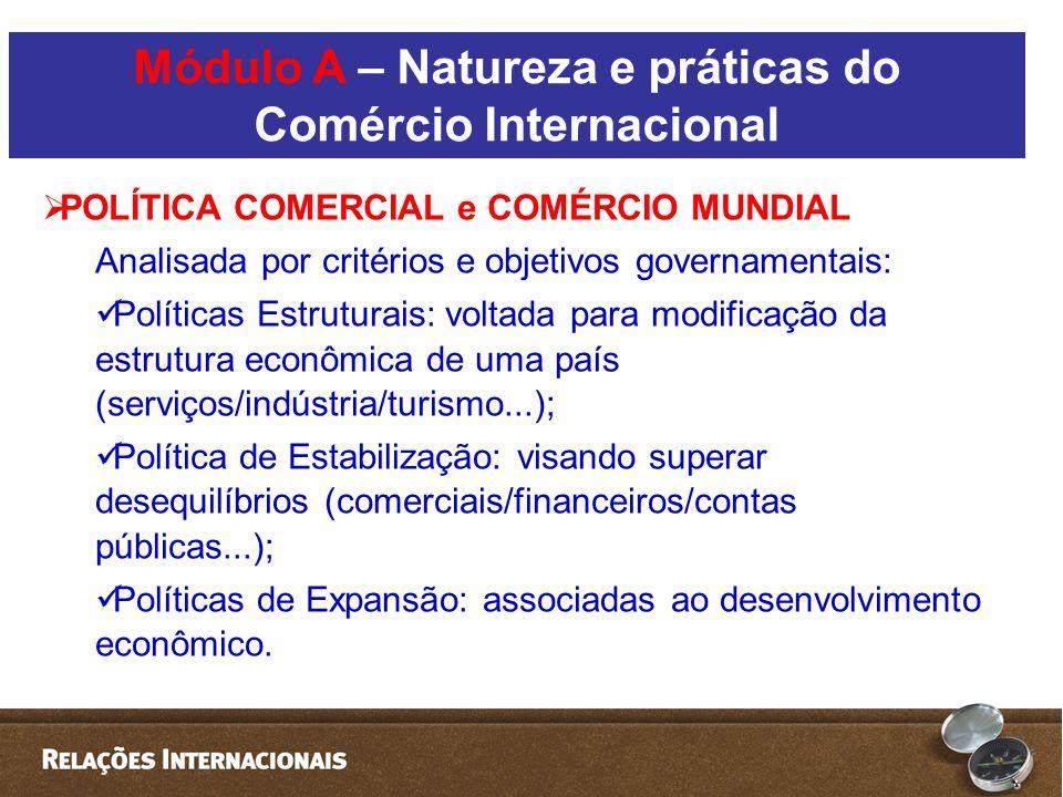  POLÍTICA COMERCIAL e COMÉRCIO MUNDIAL Analisada por critérios e objetivos governamentais:  Políticas Estruturais: voltada para modificação da estrutura econômica de uma país (serviços/indústria/turismo...);  Política de Estabilização: visando superar desequilíbrios (comerciais/financeiros/contas públicas...);  Políticas de Expansão: associadas ao desenvolvimento econômico.