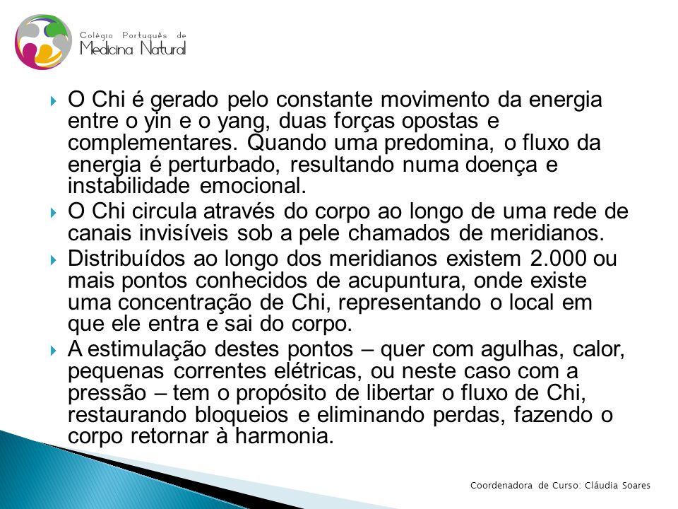  O Chi é gerado pelo constante movimento da energia entre o yin e o yang, duas forças opostas e complementares. Quando uma predomina, o fluxo da ener