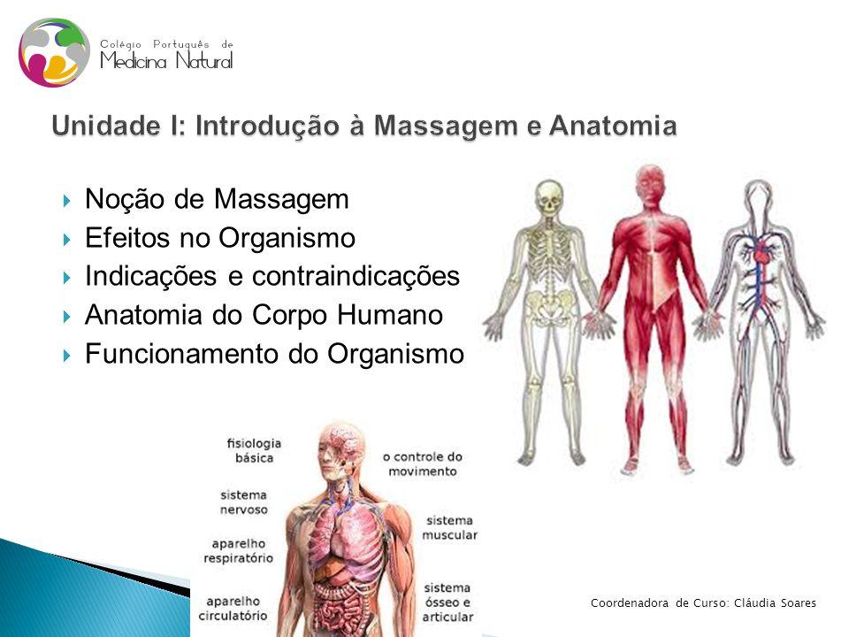  Noção de Massagem  Efeitos no Organismo  Indicações e contraindicações  Anatomia do Corpo Humano  Funcionamento do Organismo Coordenadora de Cur