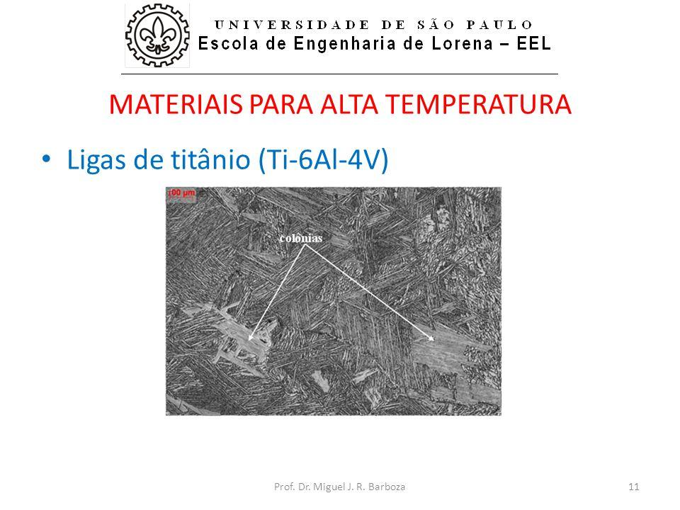 MATERIAIS PARA ALTA TEMPERATURA • Ligas de titânio (Ti-6Al-4V) Prof. Dr. Miguel J. R. Barboza11