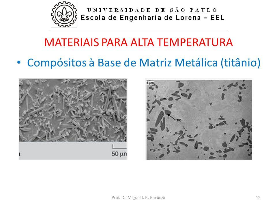 MATERIAIS PARA ALTA TEMPERATURA • Compósitos à Base de Matriz Metálica (titânio) Prof. Dr. Miguel J. R. Barboza12