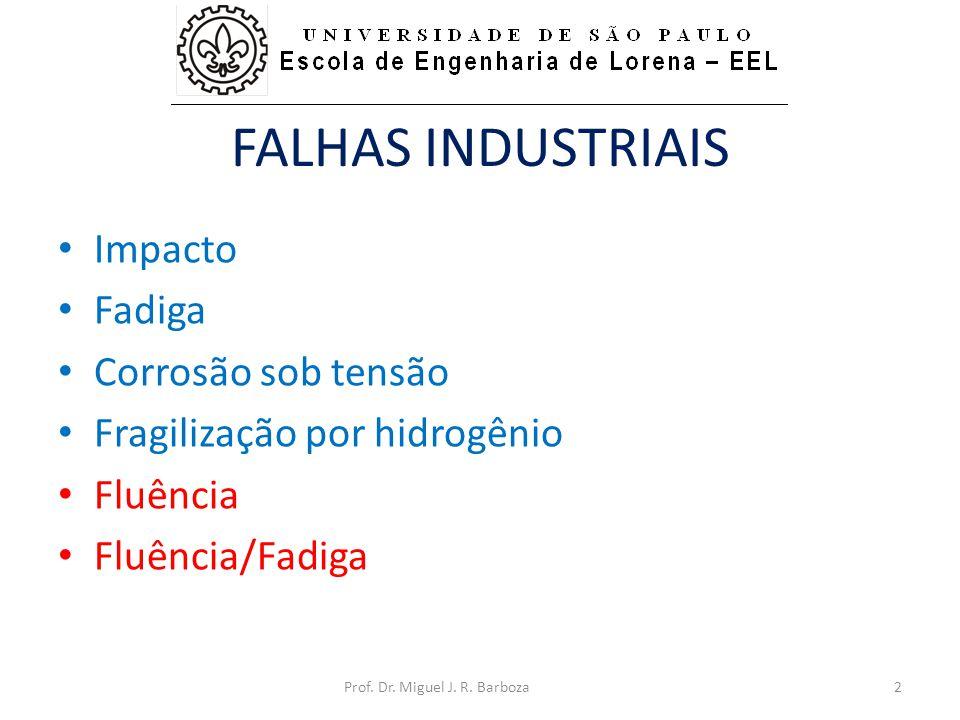 FALHAS INDUSTRIAIS • Impacto • Fadiga • Corrosão sob tensão • Fragilização por hidrogênio • Fluência • Fluência/Fadiga 2Prof. Dr. Miguel J. R. Barboza
