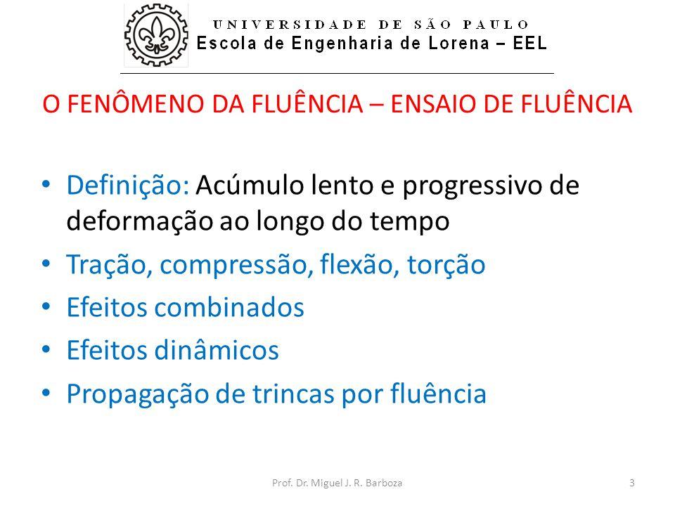 O FENÔMENO DA FLUÊNCIA – ENSAIO DE FLUÊNCIA • Definição: Acúmulo lento e progressivo de deformação ao longo do tempo • Tração, compressão, flexão, torção • Efeitos combinados • Efeitos dinâmicos • Propagação de trincas por fluência 3Prof.