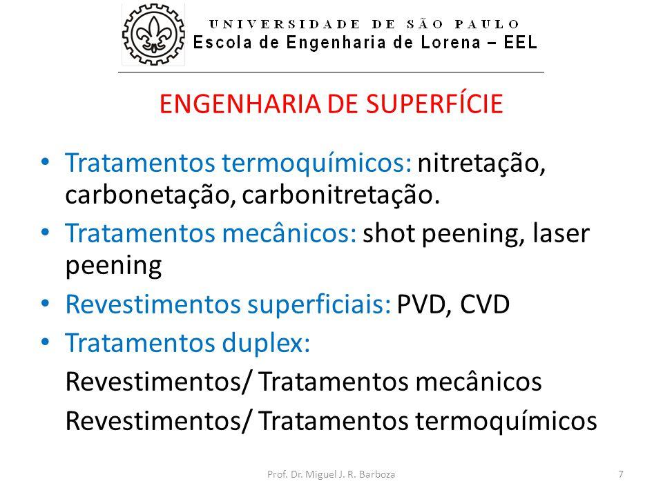 ENGENHARIA DE SUPERFÍCIE • Tratamentos termoquímicos: nitretação, carbonetação, carbonitretação. • Tratamentos mecânicos: shot peening, laser peening