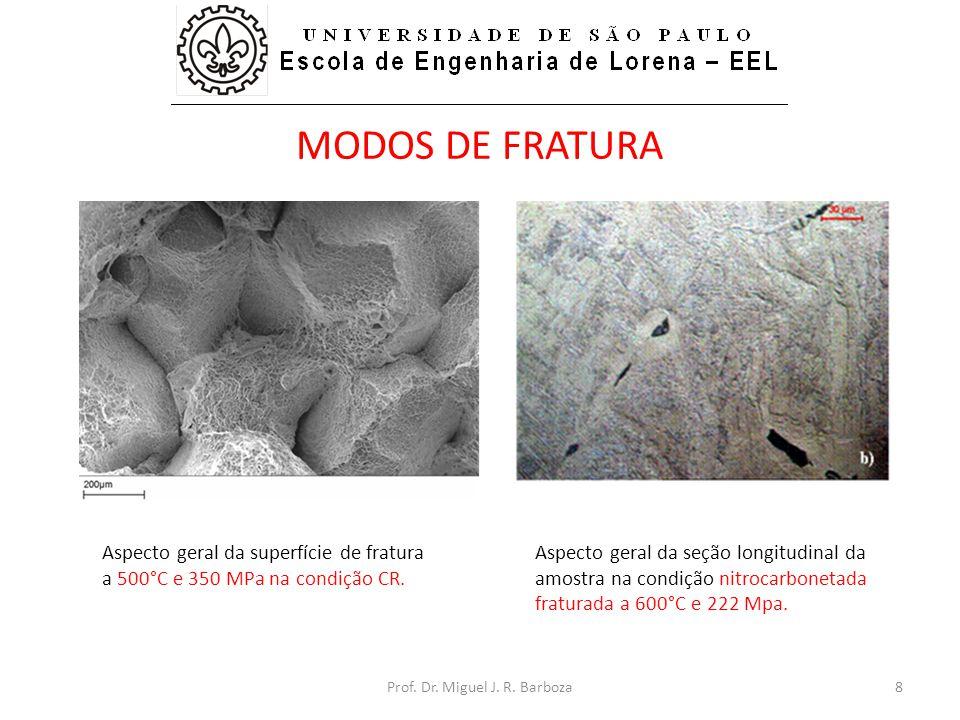 MODOS DE FRATURA 8 Aspecto geral da superfície de fratura a 500°C e 350 MPa na condição CR. Aspecto geral da seção longitudinal da amostra na condição