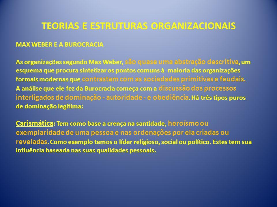 TEORIAS E ESTRUTURAS ORGANIZACIONAIS MAX WEBER E A BUROCRACIA As organizações segundo Max Weber, são quase uma abstração descritiva, um esquema que pr