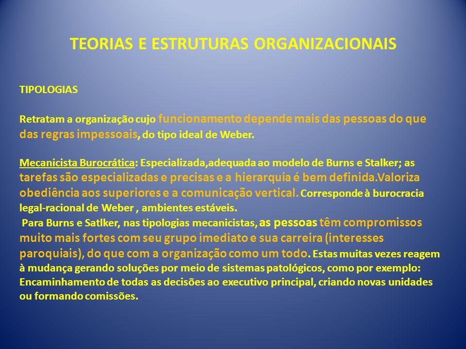 TEORIAS E ESTRUTURAS ORGANIZACIONAIS TIPOLOGIAS Retratam a organização cujo funcionamento depende mais das pessoas do que das regras impessoais, do tipo ideal de Weber.