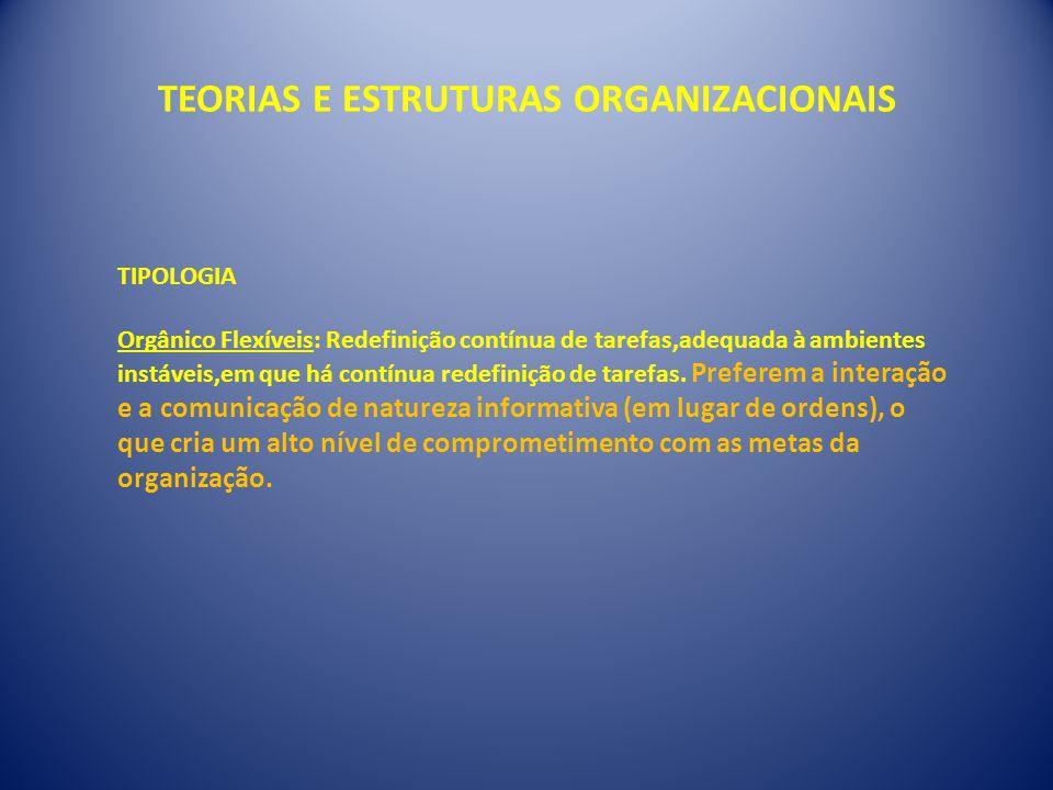 TEORIAS E ESTRUTURAS ORGANIZACIONAIS TIPOLOGIA Orgânico Flexíveis: Redefinição contínua de tarefas,adequada à ambientes instáveis,em que há contínua redefinição de tarefas.
