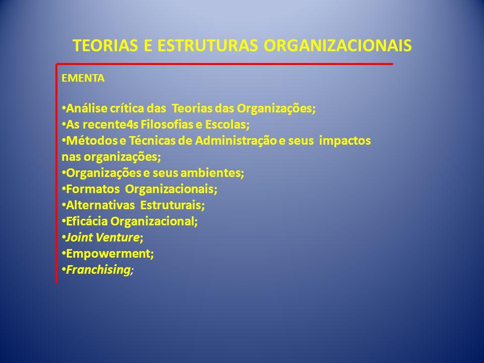 TEORIAS E ESTRUTURAS ORGANIZACIONAIS EMENTA • Análise crítica das Teorias das Organizações; • As recente4s Filosofias e Escolas; • Métodos e Técnicas de Administração e seus impactos nas organizações; • Organizações e seus ambientes; • Formatos Organizacionais; • Alternativas Estruturais; • Eficácia Organizacional; • Joint Venture; • Empowerment; • Franchising ;