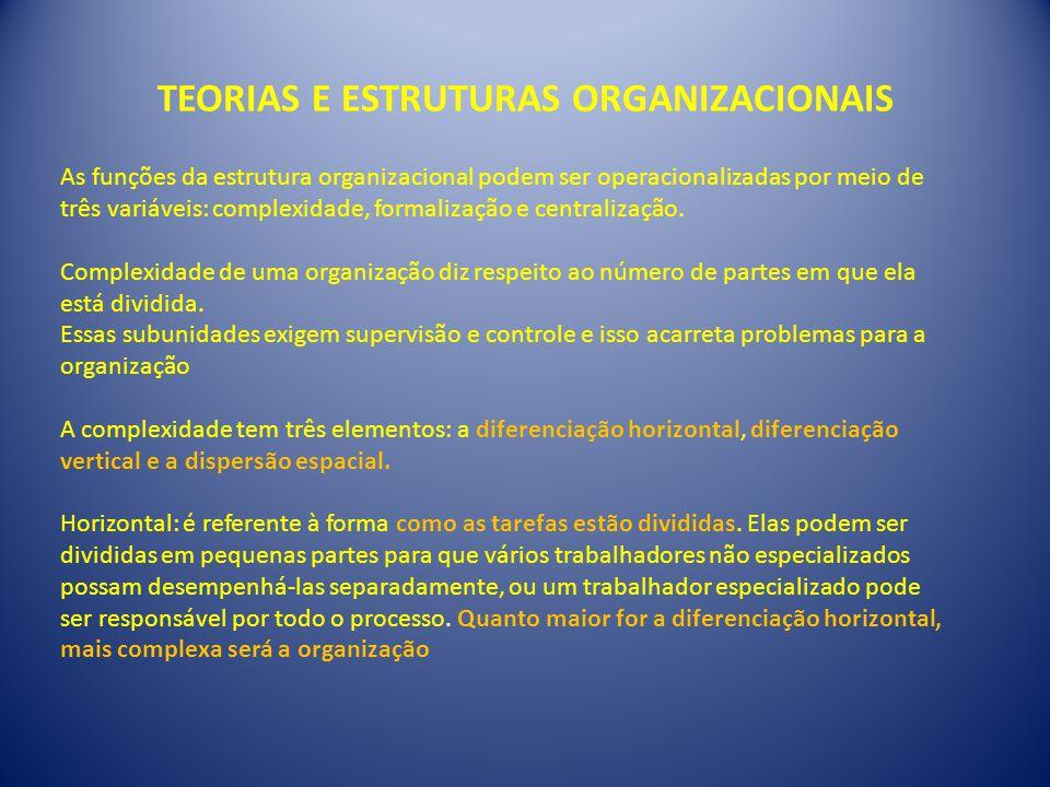 TEORIAS E ESTRUTURAS ORGANIZACIONAIS As funções da estrutura organizacional podem ser operacionalizadas por meio de três variáveis: complexidade, formalização e centralização.