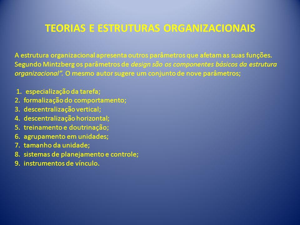 TEORIAS E ESTRUTURAS ORGANIZACIONAIS A estrutura organizacional apresenta outros parâmetros que afetam as suas funções. Segundo Mintzberg os parâmetro