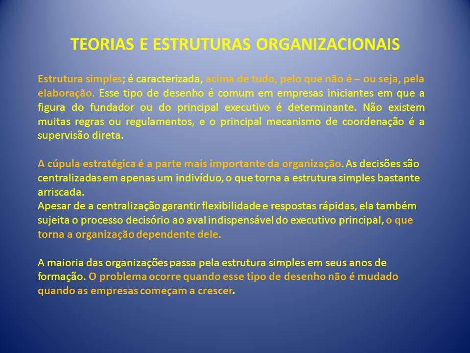 TEORIAS E ESTRUTURAS ORGANIZACIONAIS Estrutura simples; é caracterizada, acima de tudo, pelo que não é – ou seja, pela elaboração.