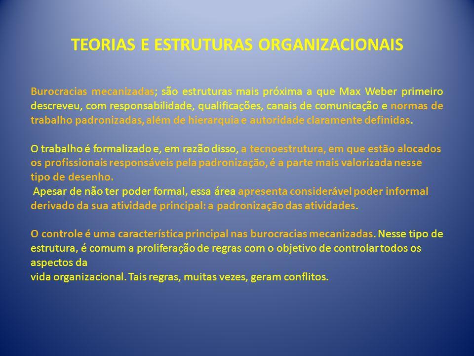 TEORIAS E ESTRUTURAS ORGANIZACIONAIS Burocracias mecanizadas; são estruturas mais próxima a que Max Weber primeiro descreveu, com responsabilidade, qualificações, canais de comunicação e normas de trabalho padronizadas, além de hierarquia e autoridade claramente definidas.