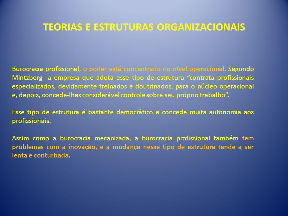 TEORIAS E ESTRUTURAS ORGANIZACIONAIS Burocracia profissional, o poder está concentrado no nível operacional. Segundo Mintzberg a empresa que adota ess