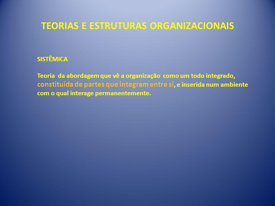TEORIAS E ESTRUTURAS ORGANIZACIONAIS SISTÊMICA Teoria da abordagem que vê a organização como um todo integrado, constituída de partes que integram entre si, e inserida num ambiente com o qual interage permanentemente.