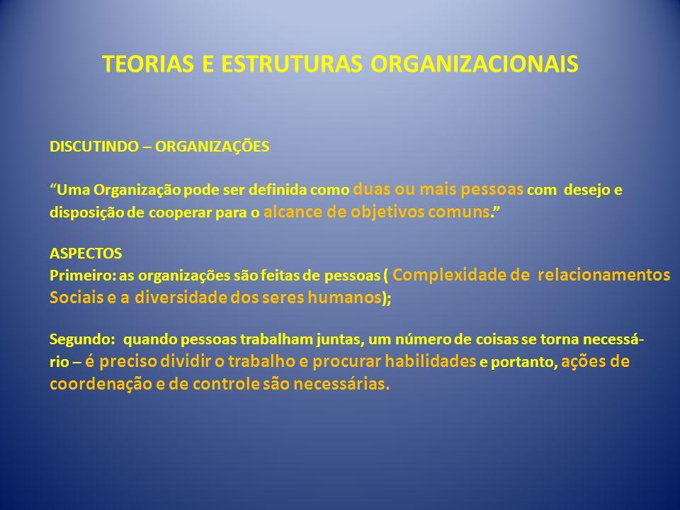 """TEORIAS E ESTRUTURAS ORGANIZACIONAIS DISCUTINDO – ORGANIZAÇÕES """"Uma Organização pode ser definida como duas ou mais pessoas com desejo e disposição de"""