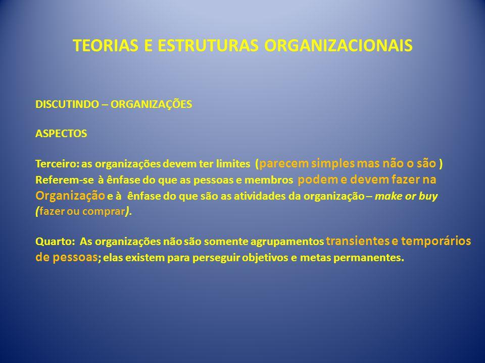 TEORIAS E ESTRUTURAS ORGANIZACIONAIS DISCUTINDO – ORGANIZAÇÕES ASPECTOS Terceiro: as organizações devem ter limites ( parecem simples mas não o são )