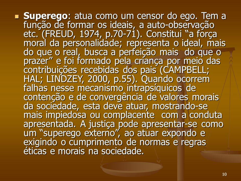 """10  Superego: atua como um censor do ego. Tem a função de formar os ideais, a auto-observação etc. (FREUD, 1974, p.70-71). Constitui """"a força moral d"""