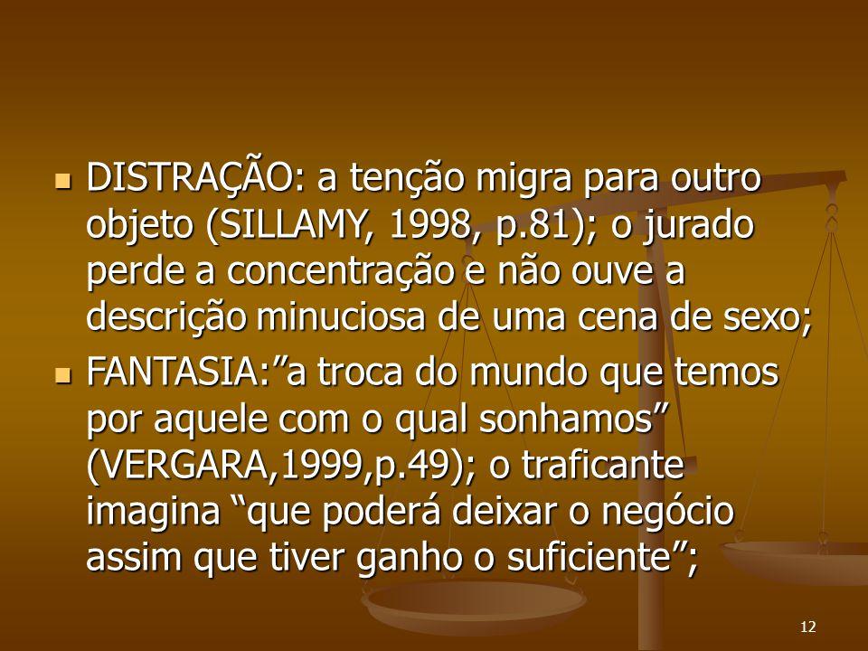 12  DISTRAÇÃO: a tenção migra para outro objeto (SILLAMY, 1998, p.81); o jurado perde a concentração e não ouve a descrição minuciosa de uma cena de