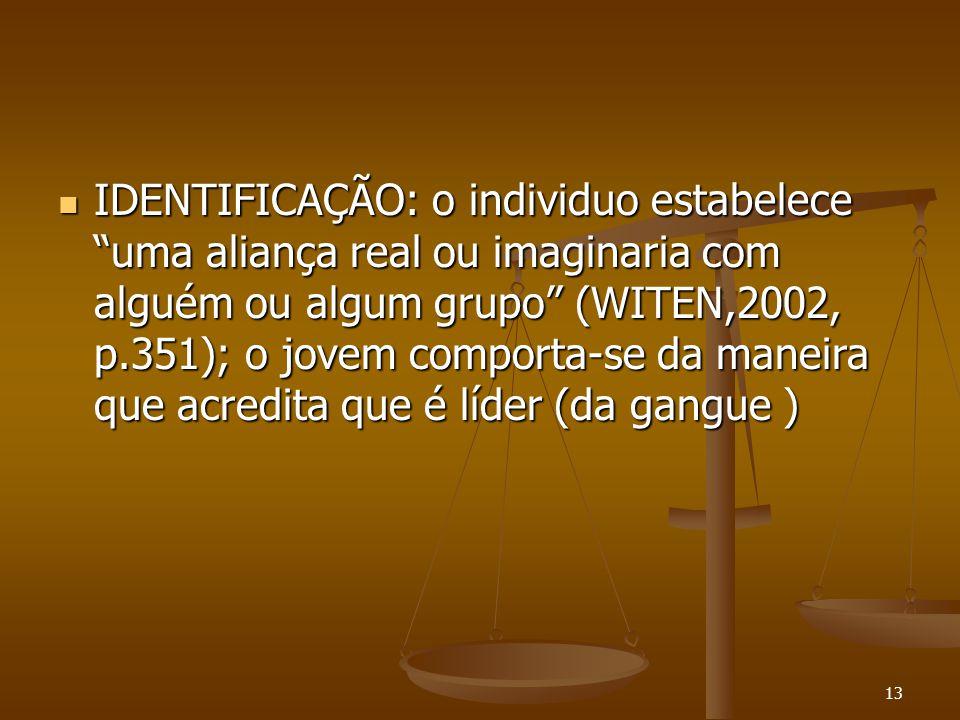 """13  IDENTIFICAÇÃO: o individuo estabelece """"uma aliança real ou imaginaria com alguém ou algum grupo"""" (WITEN,2002, p.351); o jovem comporta-se da mane"""