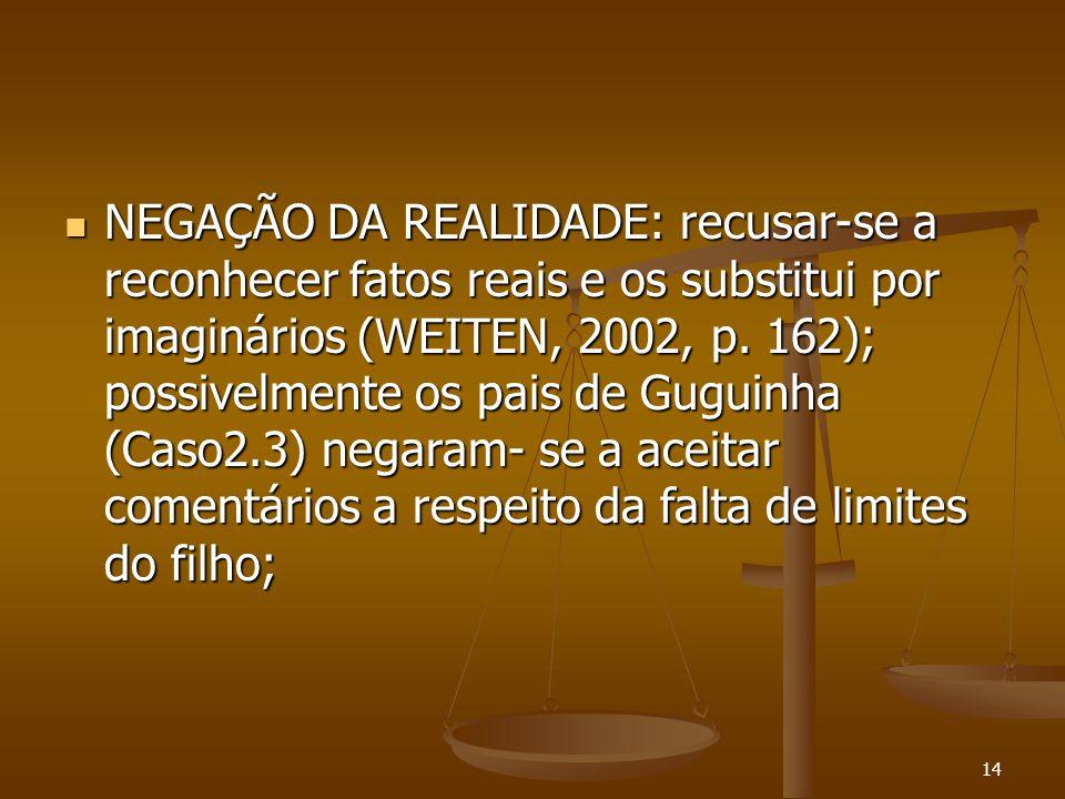 14  NEGAÇÃO DA REALIDADE: recusar-se a reconhecer fatos reais e os substitui por imaginários (WEITEN, 2002, p. 162); possivelmente os pais de Guguinh
