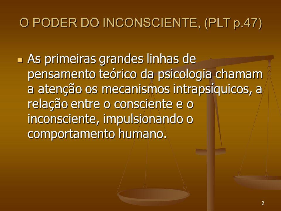 2 O PODER DO INCONSCIENTE, (PLT p.47)  As primeiras grandes linhas de pensamento teórico da psicologia chamam a atenção os mecanismos intrapsíquicos,