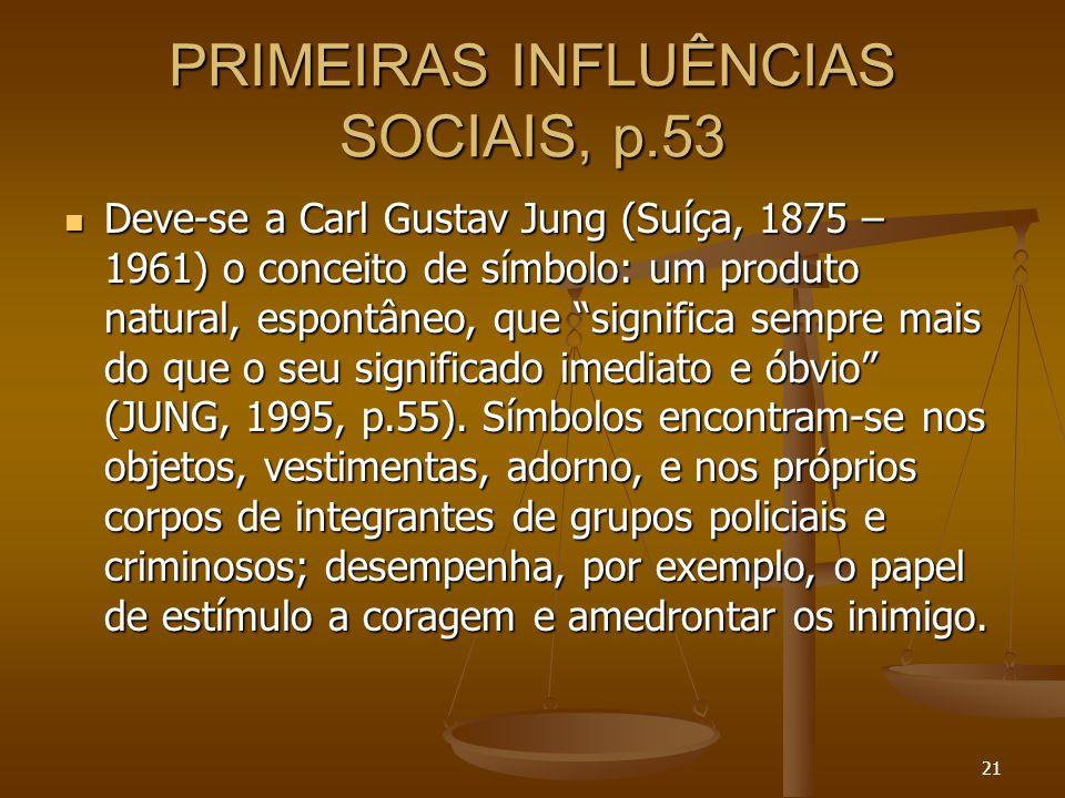 """21 PRIMEIRAS INFLUÊNCIAS SOCIAIS, p.53  Deve-se a Carl Gustav Jung (Suíça, 1875 – 1961) o conceito de símbolo: um produto natural, espontâneo, que """"s"""