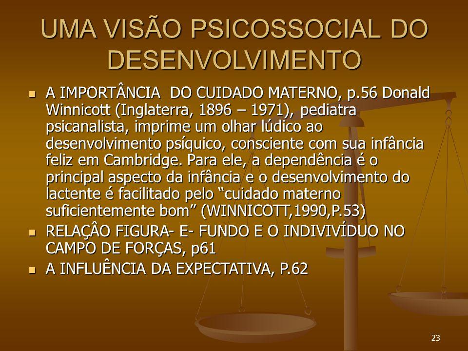 23 UMA VISÃO PSICOSSOCIAL DO DESENVOLVIMENTO  A IMPORTÂNCIA DO CUIDADO MATERNO, p.56 Donald Winnicott (Inglaterra, 1896 – 1971), pediatra psicanalist